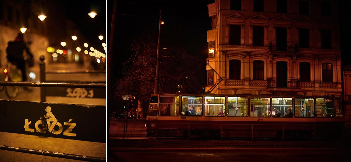 Łódź nocą - tramwaj