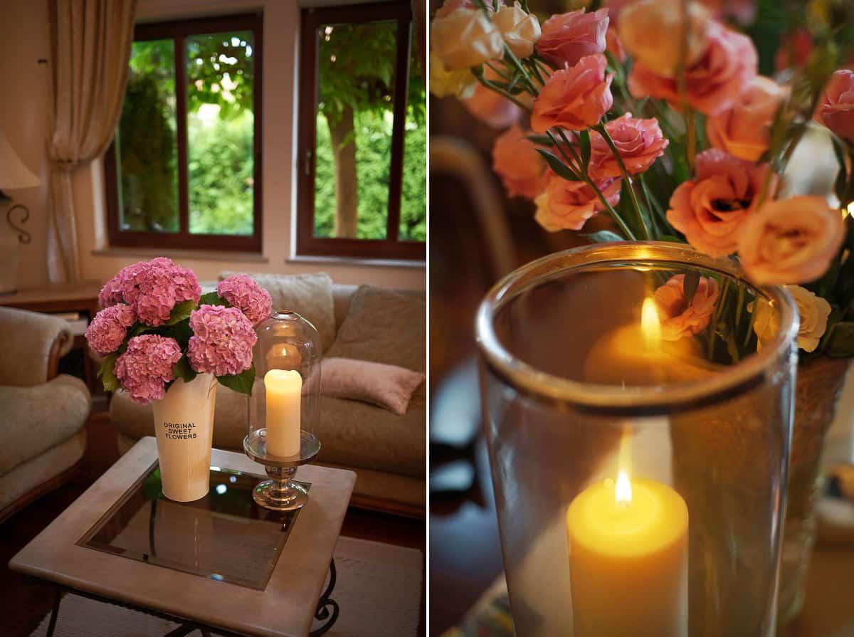 świece i kwiaty na przygotowaniach ślubnych