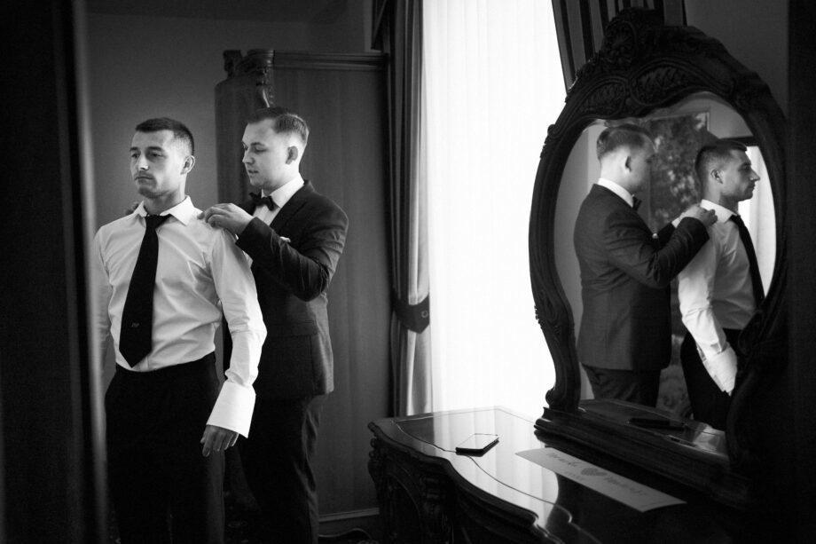 przygotowania ślubne w pokoju hotelu łańcut